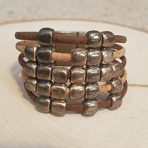 Cork & Metal Magnetic Close Bracelet